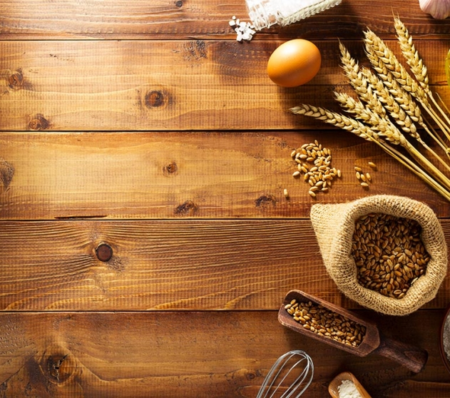 bakery products on wooden background